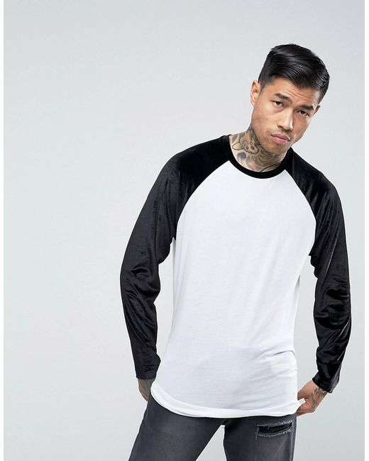 Longline Long Sleeve T-Shirt With Velour Sleeves And Curve Hem - White Asos Outlet With Paypal Shop For Cheap Price Sale With Paypal Buy Best Collections Online 9tm1gT8
