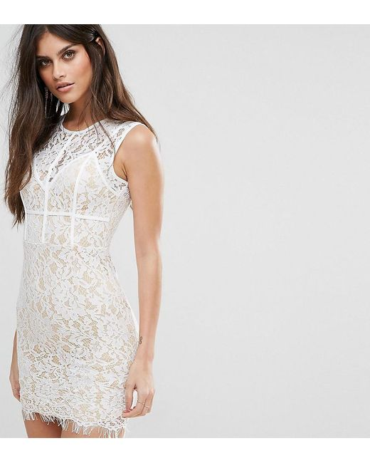 Naanaa | White Mini Dress With Eyelash Lace Hem And Piping | Lyst