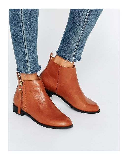 faith zip leather ankle boots in brown lyst