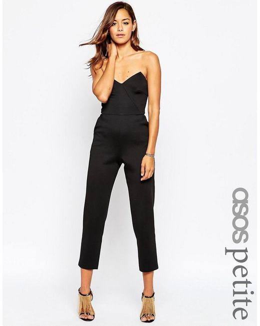 ASOS | Black Petite Jersey Jumpsuit With Angular Bandeau | Lyst