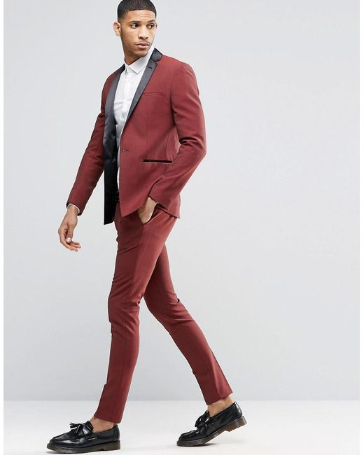 Asos Super Skinny Tuxedo Suit Trousers In Dark Red in Red for Men ...