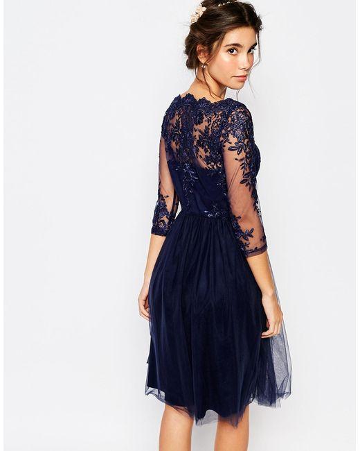 Chi Chi London Bardot Neck Midi Dress With Premium Lace