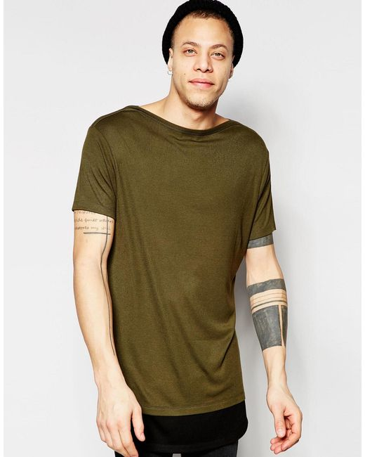 Asos Super Longline T Shirt With Boat Neck And Contrast
