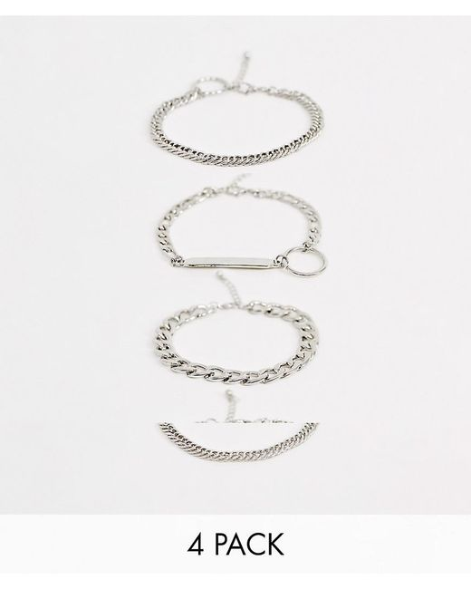 ASOS - Metallic Chunky Layered Chain Bracelet Pack With Plate In Silver Tone for Men - Lyst