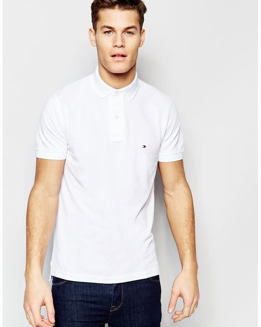 tommy hilfiger polo in slim fit white in white for men lyst. Black Bedroom Furniture Sets. Home Design Ideas