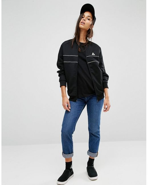 le coq sportif bomber jacket with piping in black lyst. Black Bedroom Furniture Sets. Home Design Ideas