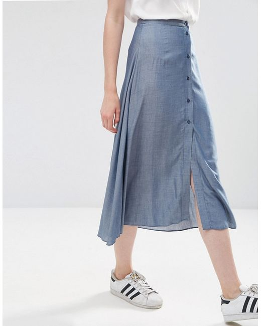 asos button through midi skirt in chambray blue in blue