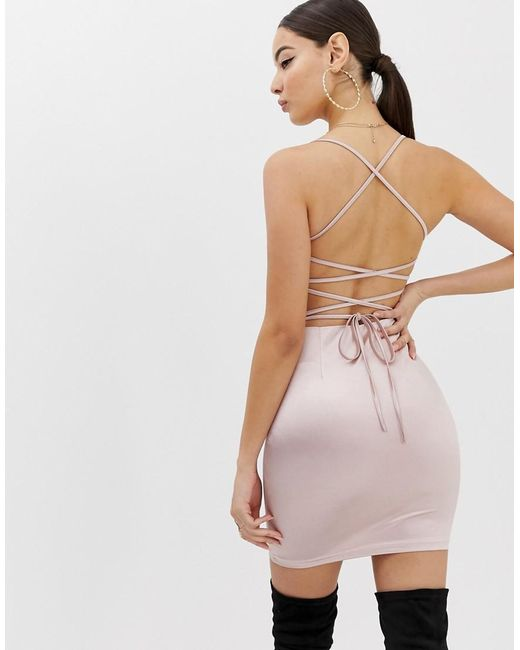 203feb50a1 ... Boohoo - Pink Cami Bodycon Dress With Lace Up Back Detail In Blush -  Lyst