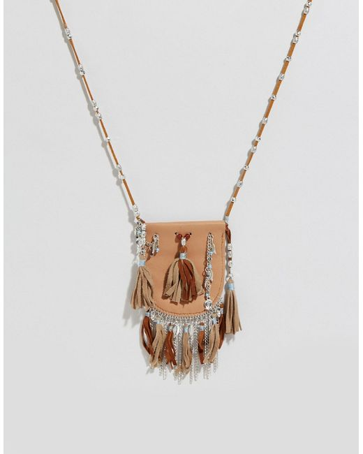 ASOS | Festival Beaded Purse Necklace - Brown | Lyst