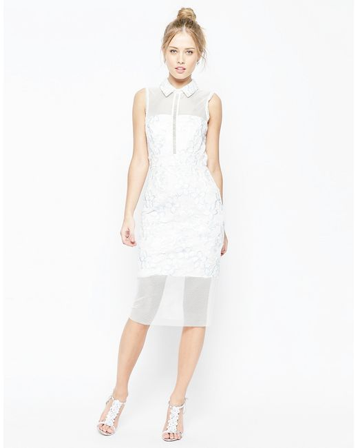 ASOS | White Salon Mesh Collar Midi Dress | Lyst