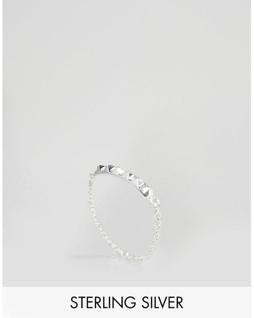 ASOS | Metallic Sterling Silver Studded Chain Ring | Lyst