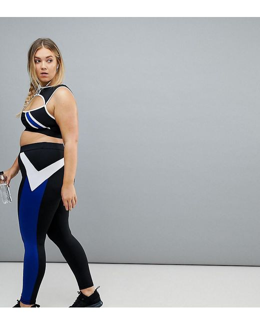South Beach - Plus Stripe Gym Legging In Black And Blue - Lyst