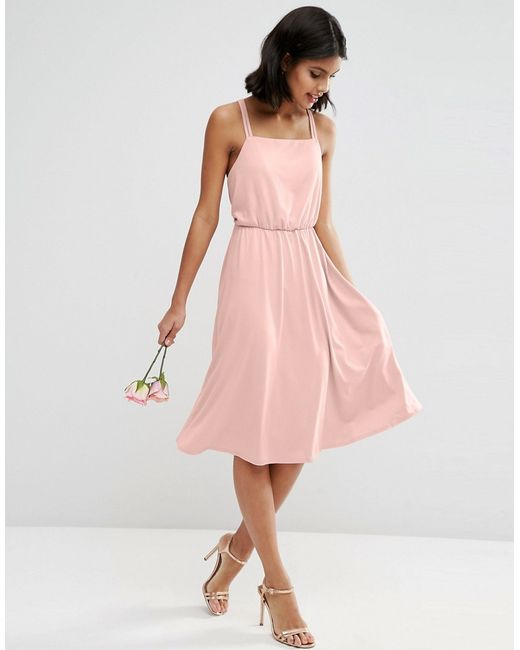 ASOS | Pink Wedding Crepe Cross Back Midi Dress | Lyst