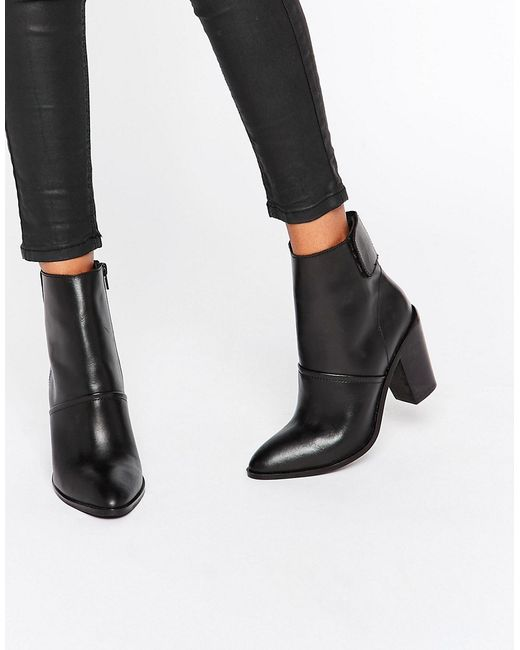 ASOS | Black Effie Leather Ankle Boots | Lyst