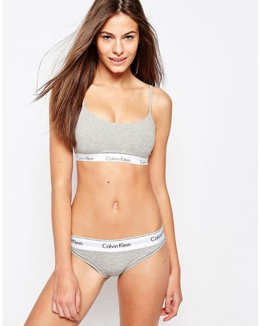 Calvin klein Modern Cotton Lightly Lined Bralette in Grey ...