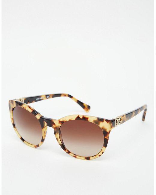 0aa19c103a7faa Dolce   gabbana Round Sunglasses in Multicolor (Tort)   Lyst