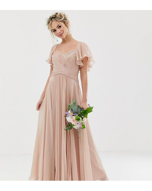 8066530fbdd ASOS - Pink Bridesmaid Pleated Bodice Maxi Dress With Flutter Sleeve - Lyst  ...