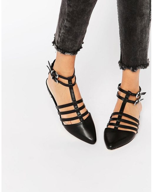 Asos Los Angeles Pointed Caged Ballet Flats In Black Lyst