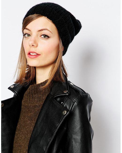 Hat Attack   Black Slouchy Beanie Hat   Lyst