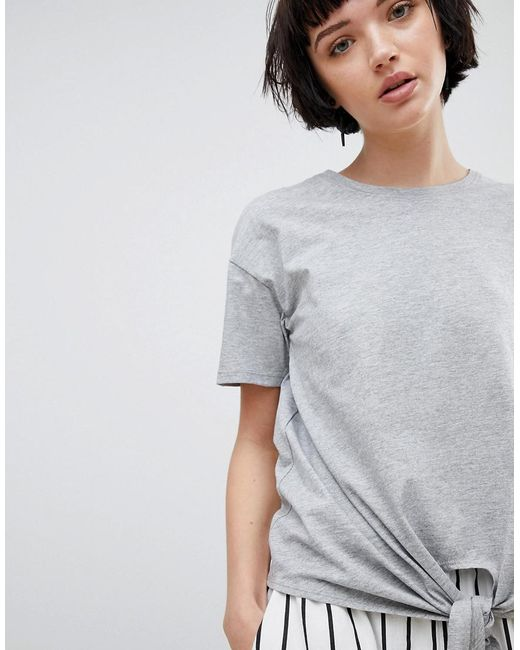 Tie Front Tee - Grey New Look Clearance Pre Order lciVL