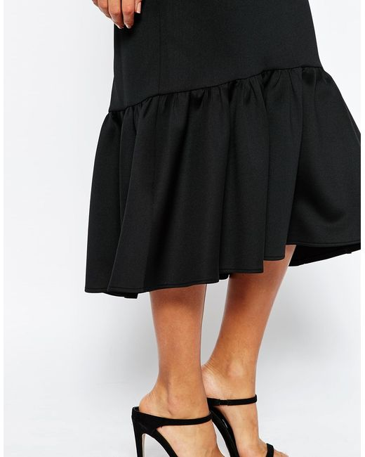 asos scuba midi skirt with tiered hem in black lyst