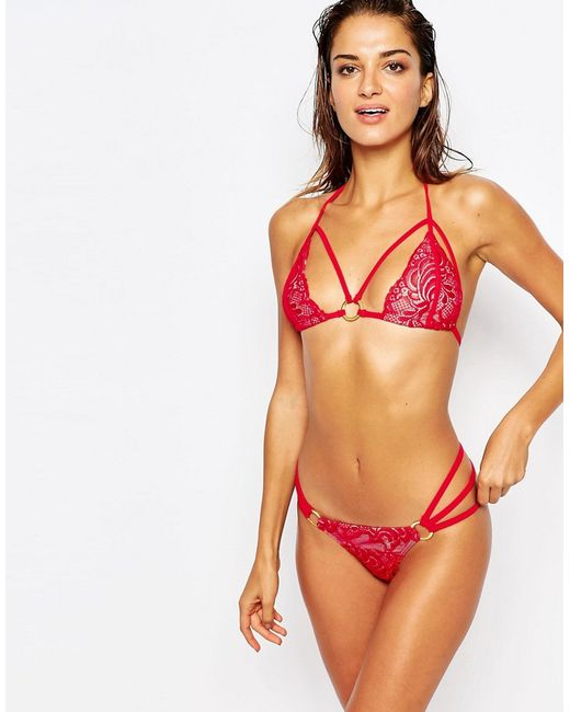 Ann Summers Mai Lace Triangle Bikini Bottoms In Red Lyst
