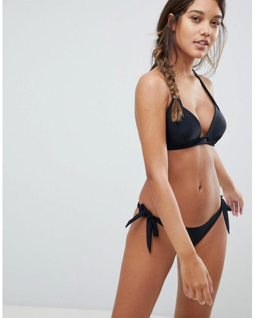 Sale Purchase Buy Cheap Best Prices Tie Side Bikini Set With Mesh Overlay - Black South Beach siyX2hy5cY