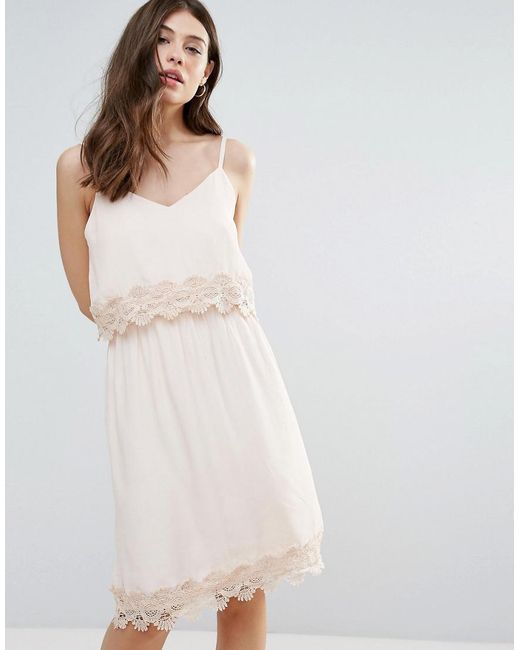 B.Young | Pink Summer Dress With Lace Insert | Lyst