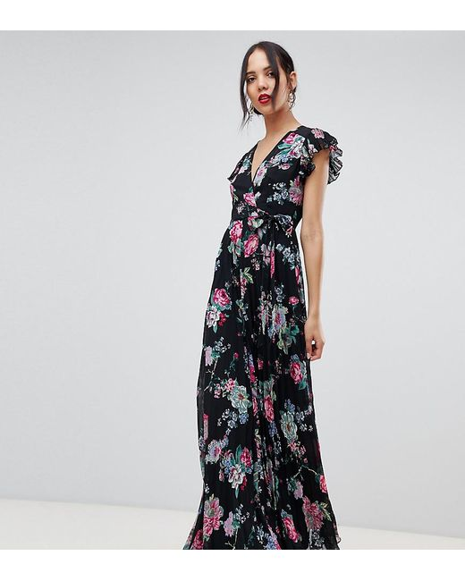 ea4c6ed96f4 ASOS - Multicolor Asos Design Tall Pleated Wrap Maxi Dress Flutter Sleeve  In Floral Print ...