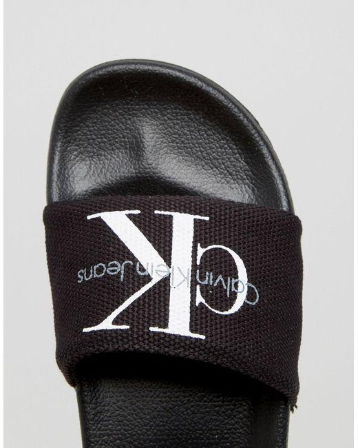 Calvin Klein Jeans Chantal Black Slider Flat Sandals In