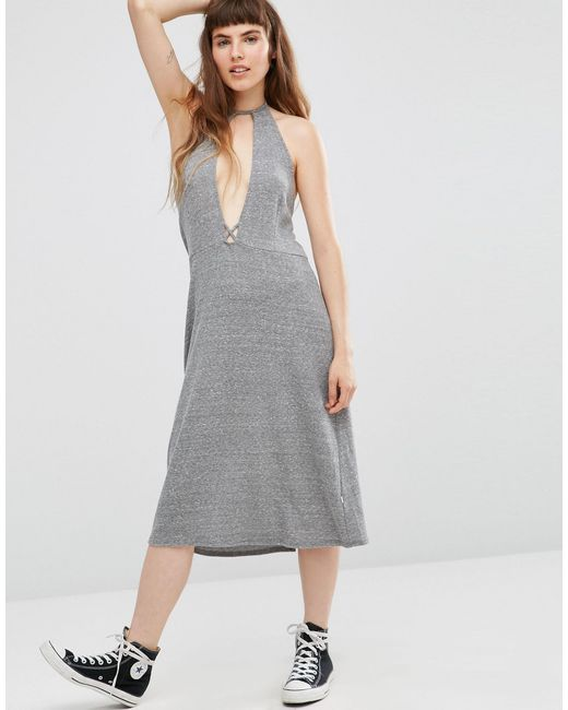 NYTT | Gray Elysia Halter Dress With Plunge Front | Lyst