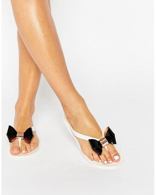 Ted Baker Ettiea Creamblack Bow Jelly Flip Flops In