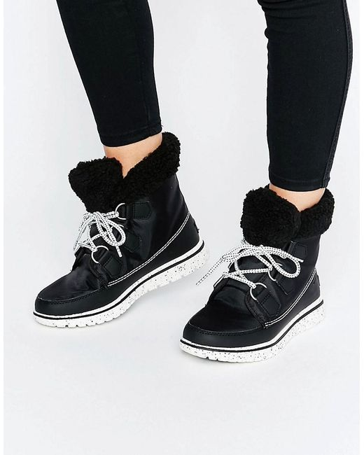 Sorel Cozy Carnival Lace Up Ankle Boots In Black Save 39