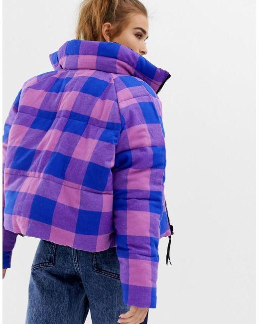 1f22e444f7eb ... Collusion - Purple Petite High Shine Reversible Puffer Jacket - Lyst