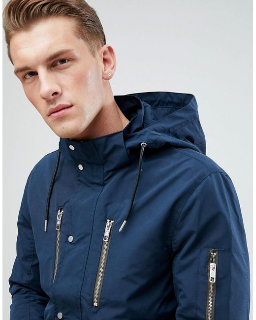 Only & Sons - Blue Light Weight Parka With Multi Pockets for Men - Lyst