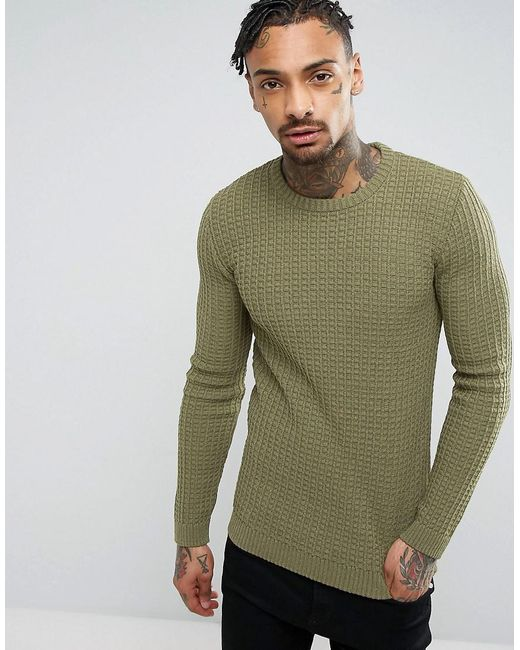 ASOS - Green Asos Muscle Fit Textured Jumper In Khaki for Men - Lyst