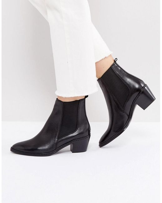 H by Hudson | Black H By Hudson Leather Ankle Boots | Lyst