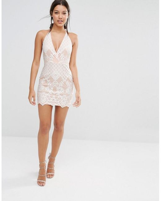Missguided Lace Halter Neck Plunge Mini Dress In White Lyst