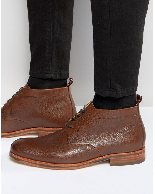 H by Hudson | Brown Lenin Leather Boots for Men | Lyst