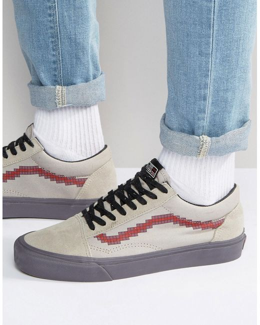 vans x nintendo old skool trainers in beige with pixel. Black Bedroom Furniture Sets. Home Design Ideas