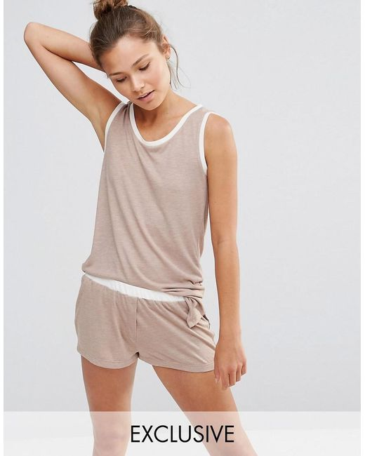 Chelsea Peers | Natural Singlet And Short Pj Set | Lyst