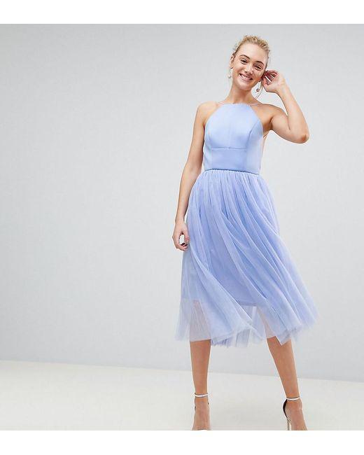 arriving online shop innovative design Robe mi-longue style chasuble en néoprène et tulle femme de coloris bleu