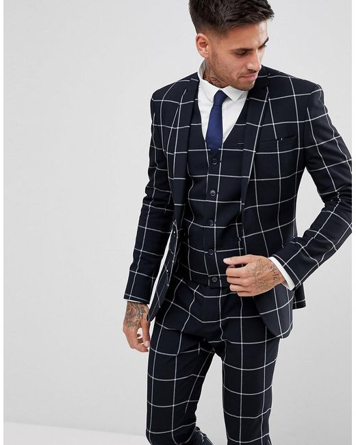 ASOS - Blue Asos Super Skinny Suit Jacket In Navy With White Windowpane Check for Men - Lyst