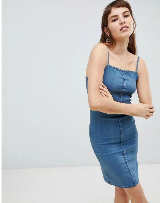 Cheap Monday - Blue Spray On Denim Slip Dress - Lyst