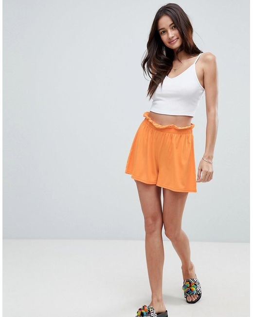 ASOS - Orange Asos Culotte Shorts With Paperbag Waist - Lyst