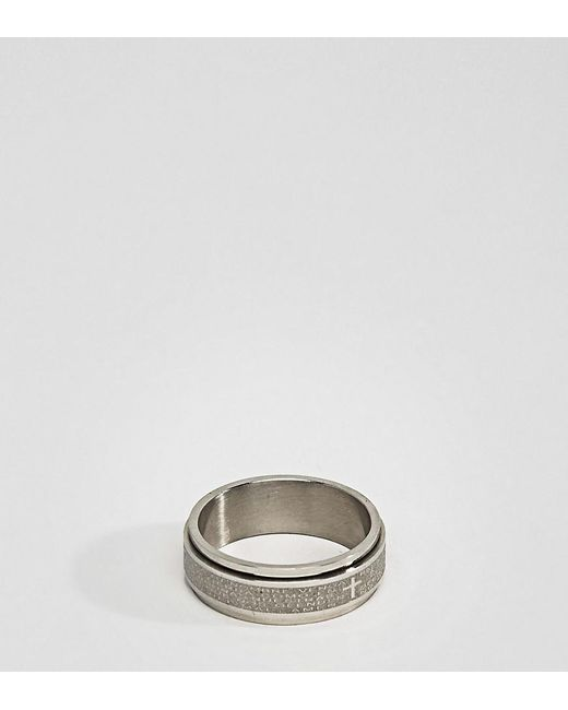 Seven London - Metallic Seven Engraved Ring Exclusive To Asos for Men - Lyst