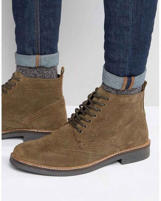 frank wright suede brogue boots in taupe in brown for