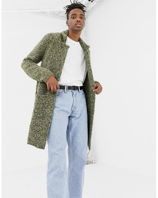 ASOS - Green Knitted Longline Duster In Khaki Textured Yarn for Men - Lyst