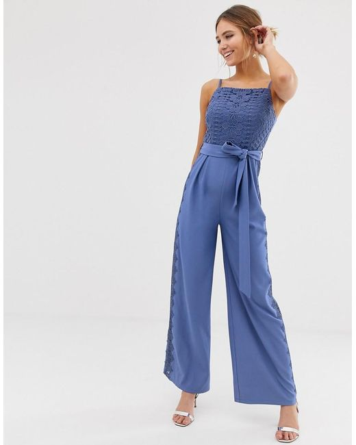 8715cfcf3dc Little Mistress - Square Neck Jumpsuit With Lace Leg Inserts In Blue - Lyst  ...