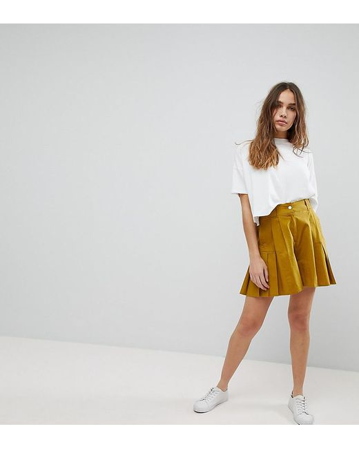ASOS DESIGN - Green Pleated Culotte Shorts - Lyst